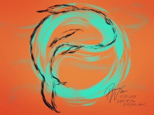 Full Fish Moon, Digital Art by Raena Wilson