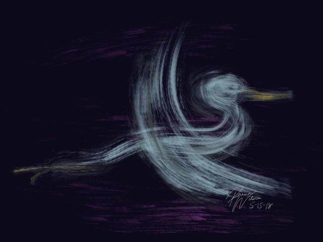 The Heron's Message, Digital Art by Raena Wilson
